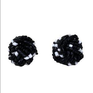 VINTAGE BLACK AND WHITE BEADED CLIP EARRINGS